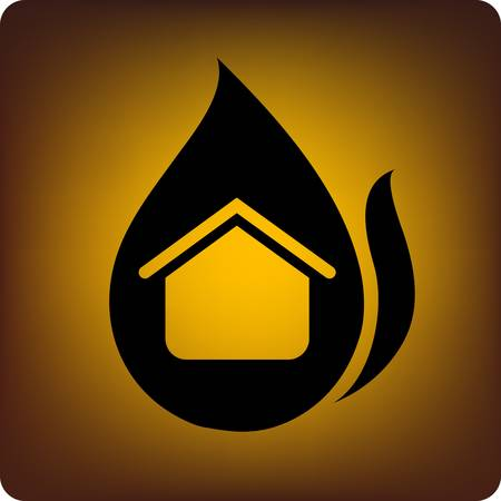 incendio casa: Concepto de seguro - un hogar se envolvi� en fuego. Vectores