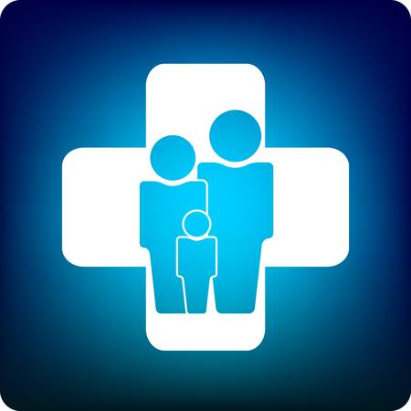 practitioners: Family icon inside a health care cross