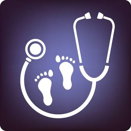 dolore ai piedi: Cura dei piedi con l'icona stetoscopio su sfondo blu