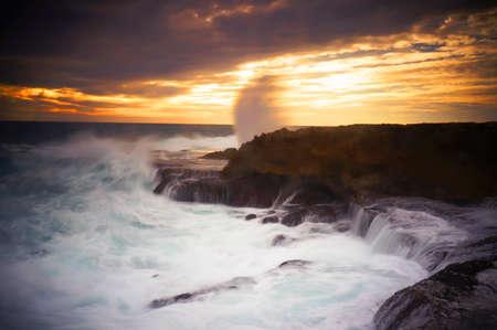 costal: Natures fury hitting onto rock shelves, Quobba Point, Western Australia. Stock Photo