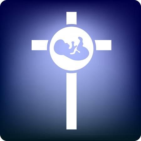 bautizo: Beb� en una cruz sobre fondo azul