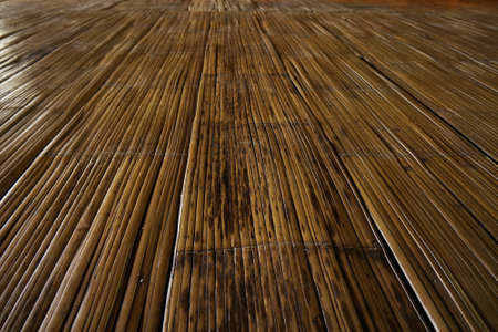 Traditional house flooring of the Kadazandusun - using flatted bamboo and bound together.  photo