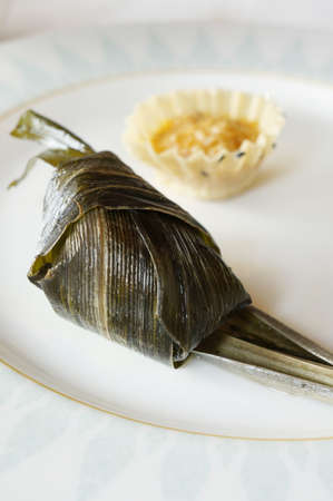 screwpine: The delicious pandan chicken, with meat wrapped in screwpine leaf, served in Thailand.