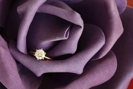 engagement: Solitaire engagement diamond ring (ideal cut) encrusted on 18K gold ring embedded in purple rose.  Stock Photo