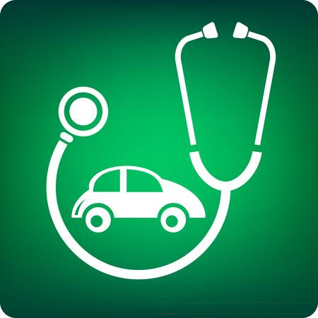 body damage: Stethoscope with a car inside on green background