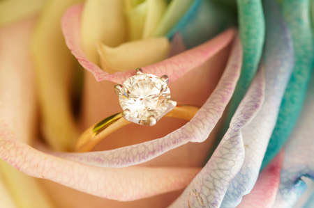 Solitaire ideal cut diamond ring in the midst of yellow rose.
