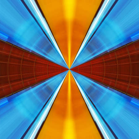 colorful cross with rays radiating Stock Photo