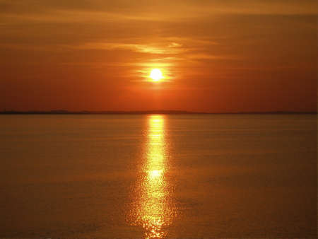Red sunset over Baltic sea Stock Photo