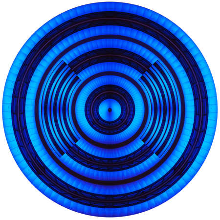 Round button and wheel in blue on the phone and on the Internet