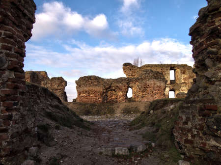 Picture Polish castle ruins in the village Besiekiery, community Grabow Stock Photo