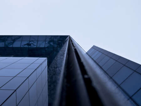 Building on a background of blue sky in Lodz, Poland Stock Photo
