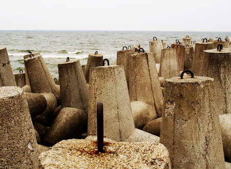 Breakwater made of concrete blocks on the Polish waterfront Stock Photo