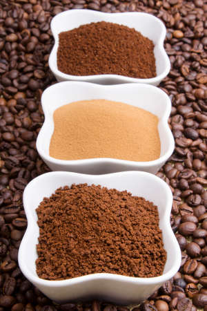 coffee grounds: types of coffee  grounds, instant, powder, coffee beans