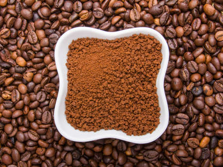 instant coffee on coffee beans