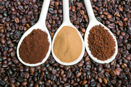 types of coffee  grounds, instant, powder, coffee beans photo