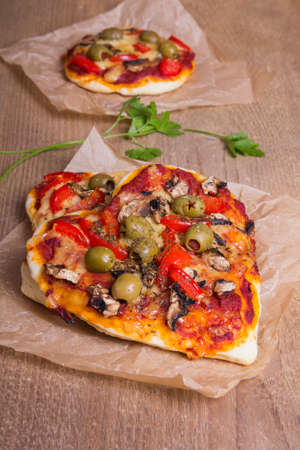 vegetarian pizza - heart shaped Stock Photo