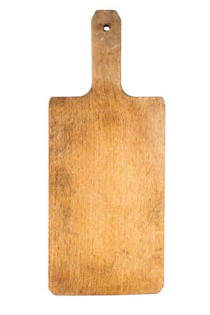old wooden cutting board, isolated on white background Stock Photo