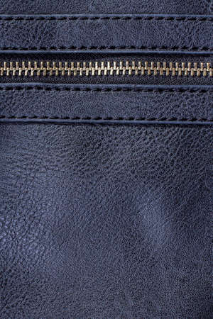 navy blue artificial leather with zipper for background photo
