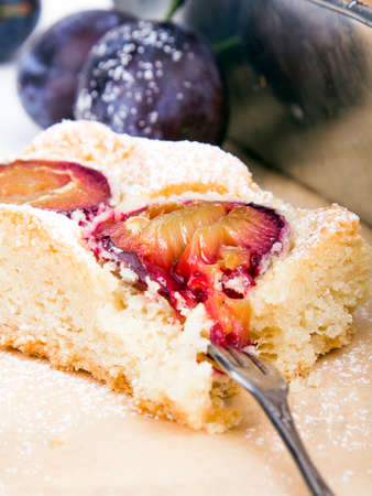 piece of cake with plums Stock Photo