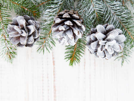 snow and trees: Christmas background with decoration with cones and twigs