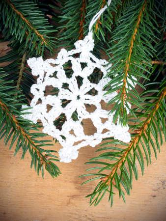 Weihnachten Hintergrund Mit Tannenzweigen Und Häkeln Sterne