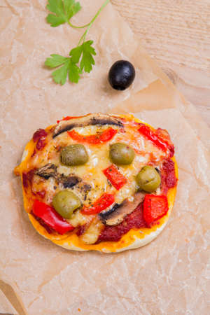 mini oven: vegetarian mini pizza
