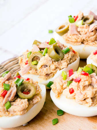 paprica: stuffed eggs with tuna, olives and paprica