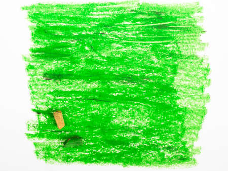 oil pastels: green background - oil pastels drawing Stock Photo