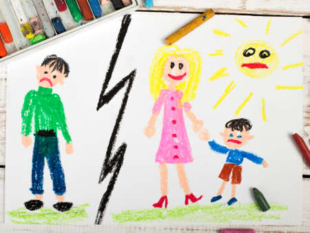 unhappy family: Representation of marriage break up or divorce colorful drawing