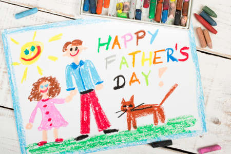 happy people: Happy fathers day card made by a child Stock Photo