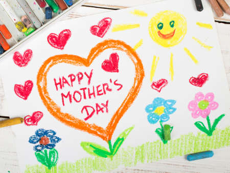 moms: Happy mothers day card made by a child Stock Photo