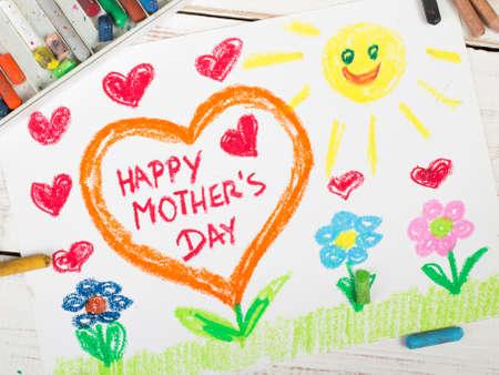 dessin coeur: M�res Bonne carte de jour faite par un enfant