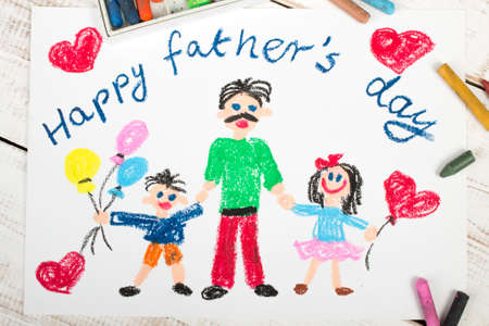 crayon: Happy fathers day card made by a child Stock Photo
