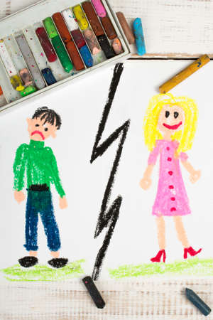break up: Representation of marriage break up or divorce colorful drawing