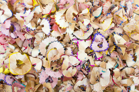 sharpening: crayons  sharpening shavings texture for background Stock Photo
