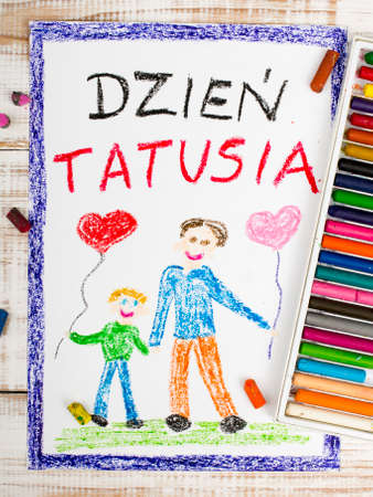 Happy fathers day card made by a child polish Imagens