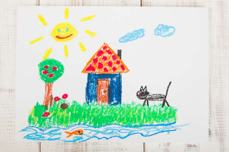 sun oil: oil pastels drawing: country house