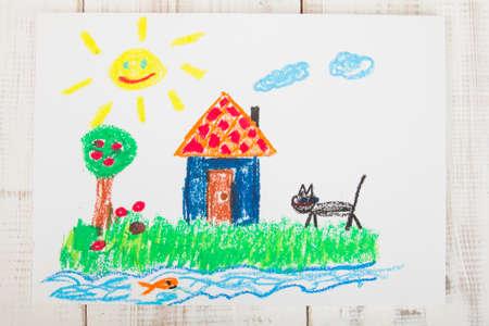 dessin enfants: pastels � l'huile dessin: maison de campagne