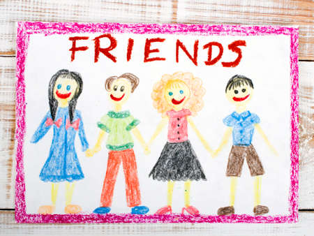 drawing of a group of friends Standard-Bild