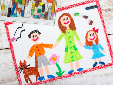 oil pastels: oil pastels drawing: single mother and kids Stock Photo