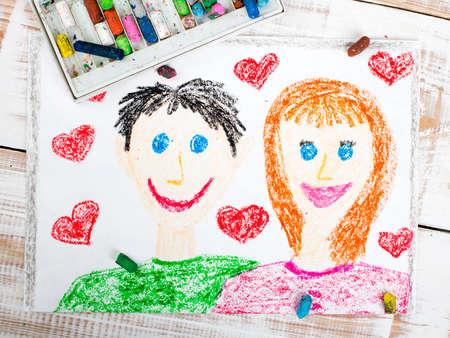 color in: feliz pareja: Dibujo colorido Foto de archivo