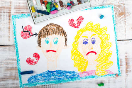 break up: Representation of marriage break up or divorce - colorful drawing