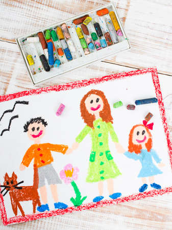 happy families: oil pastels drawing: single mother and kids Stock Photo