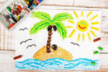 drawing trees: colorful drawing: a desert island Stock Photo