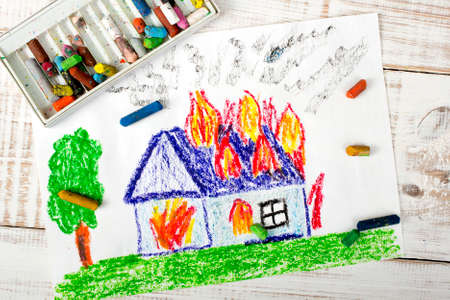 house fire: colorful drawing: burning house Stock Photo