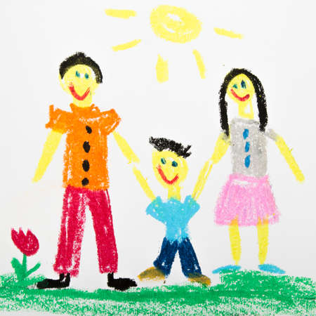 oil pastels drawing: happy family Standard-Bild