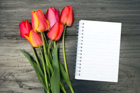 tulip bouquet and blank notebook on dark wooden table Standard-Bild