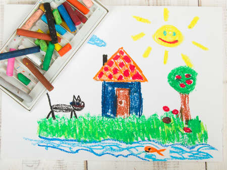 oil pastels: drawing oil pastels: country house