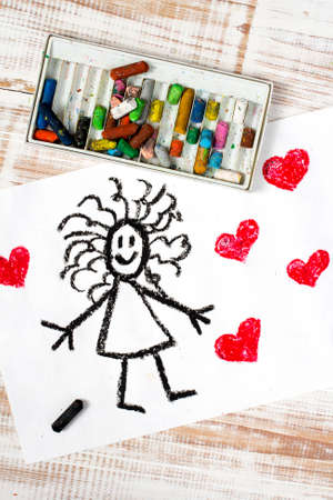 curly hair child: colorful drawing: girl and hearts