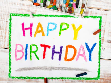 happy birthday text: colorful drawing: happy birthday card Stock Photo